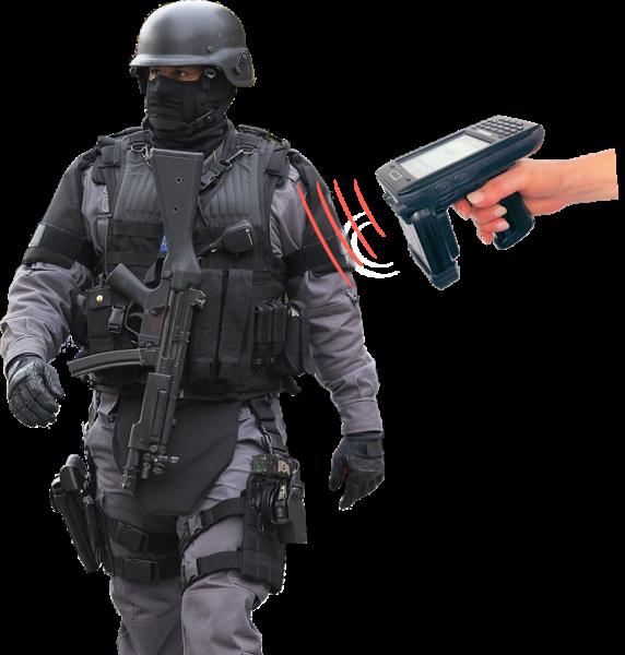 Hardcat RFID reader scanning equipment on police officer