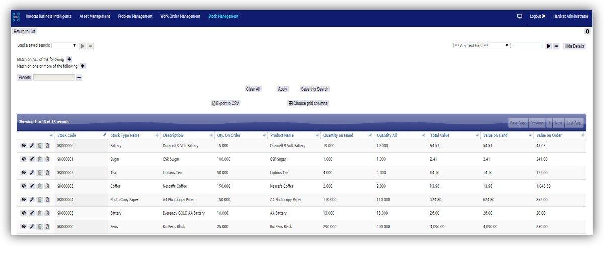 HardcatWeb Stock & Inventory