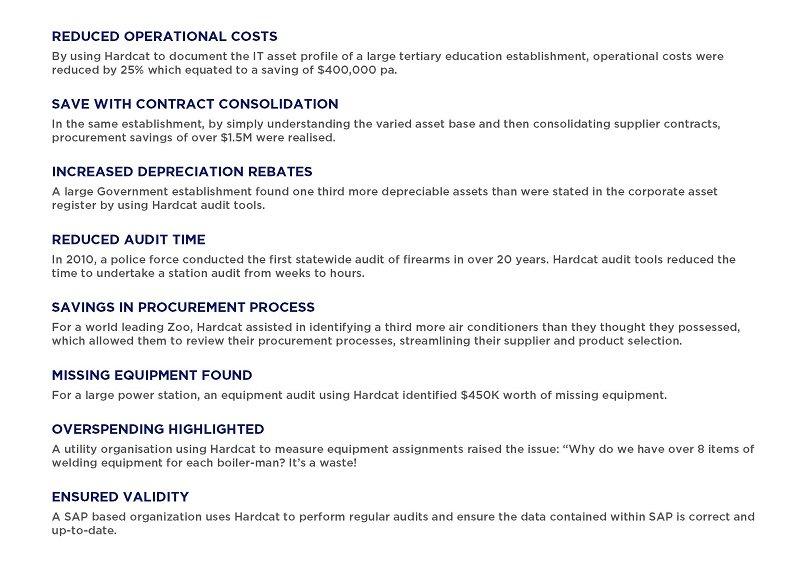 List of benefits hardcat asset register